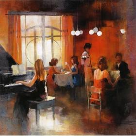 Μπάρ - Κοπέλα παίζει πιάνο