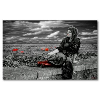 Αφίσα (κορίτσι, άσπρο, μαύρο, κόκκινο)