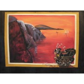Σερέτης - Ηλιοβασίλεμα στο Αιγαίο - 60x80 cm (ΧΩΡΙΣ ΤΕΛΑΡΟ)