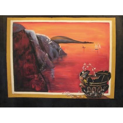 Σερέτης - Ηλιοβασίλεμα στο Αιγαίο - 60x80 cm (ME ΤΕΛΑΡΟ)