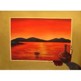 Σερέτης - Ηλιοβασίλεμα στο Αιγαίο 1 - 60x80 cm (ΧΩΡΙΣ ΤΕΛΑΡΟ)