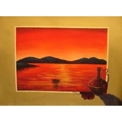 Σερέτης - Ηλιοβασίλεμα στο Αιγαίο 1 - 60x80 cm (ME ΤΕΛΑΡΟ)