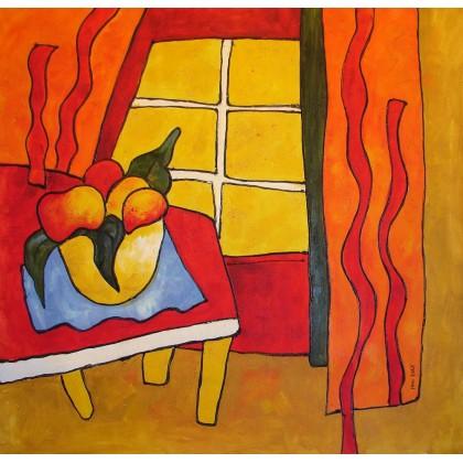 Νίνα Φέλιξ - Μήλα στο Τραπέζι - 80x80 cm (ME ΤΕΛΑΡΟ)